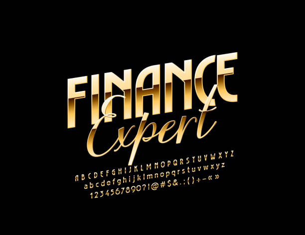 Vector stylish Sign Finance Expert. Golden glossy Font vector art illustration