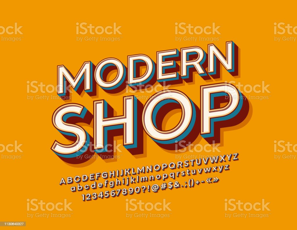 Vector Stylish Sign Modern Shop With Retro Alphabet Vintage 3d Font