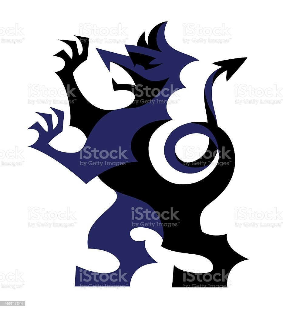 Vector stylized rampant griffin heraldic symbol, coat of arms illustration vector art illustration
