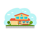 Vector suburban cottage private houses, street view. Flat Style Townhouse. Vector Illustration.