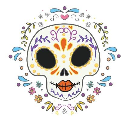 Vector sugar skull with marigold flowers wreath illustration in watercolor style. Dia de los muertos day.