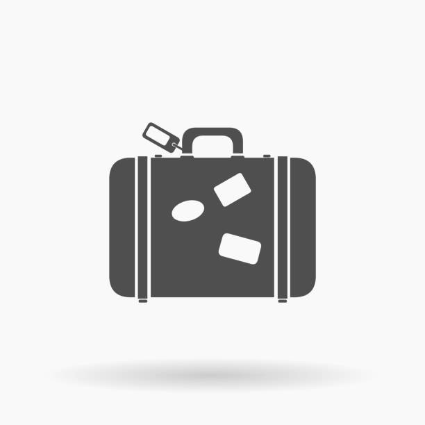 vector suitcase luggage icon illustration silhouette. - luggage stock illustrations