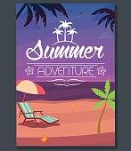 Vector summer adventure poster evening beach