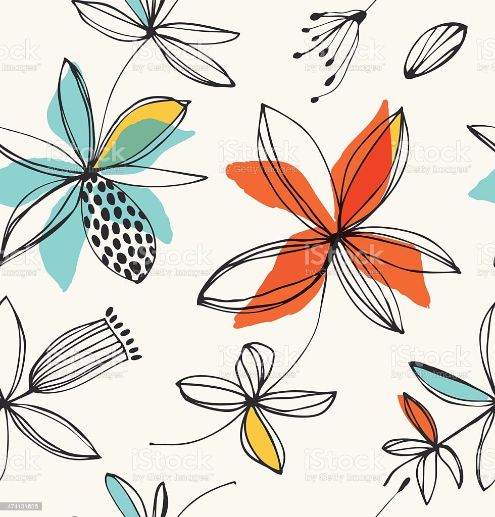Vector summer background with graphic flowers vector art illustration