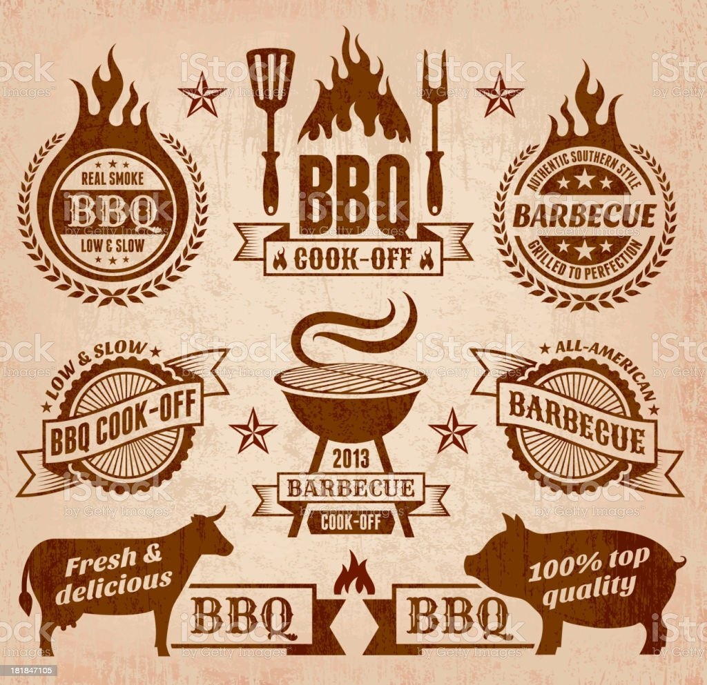 Vector summer barbecue icon collection royalty-free stock vector art