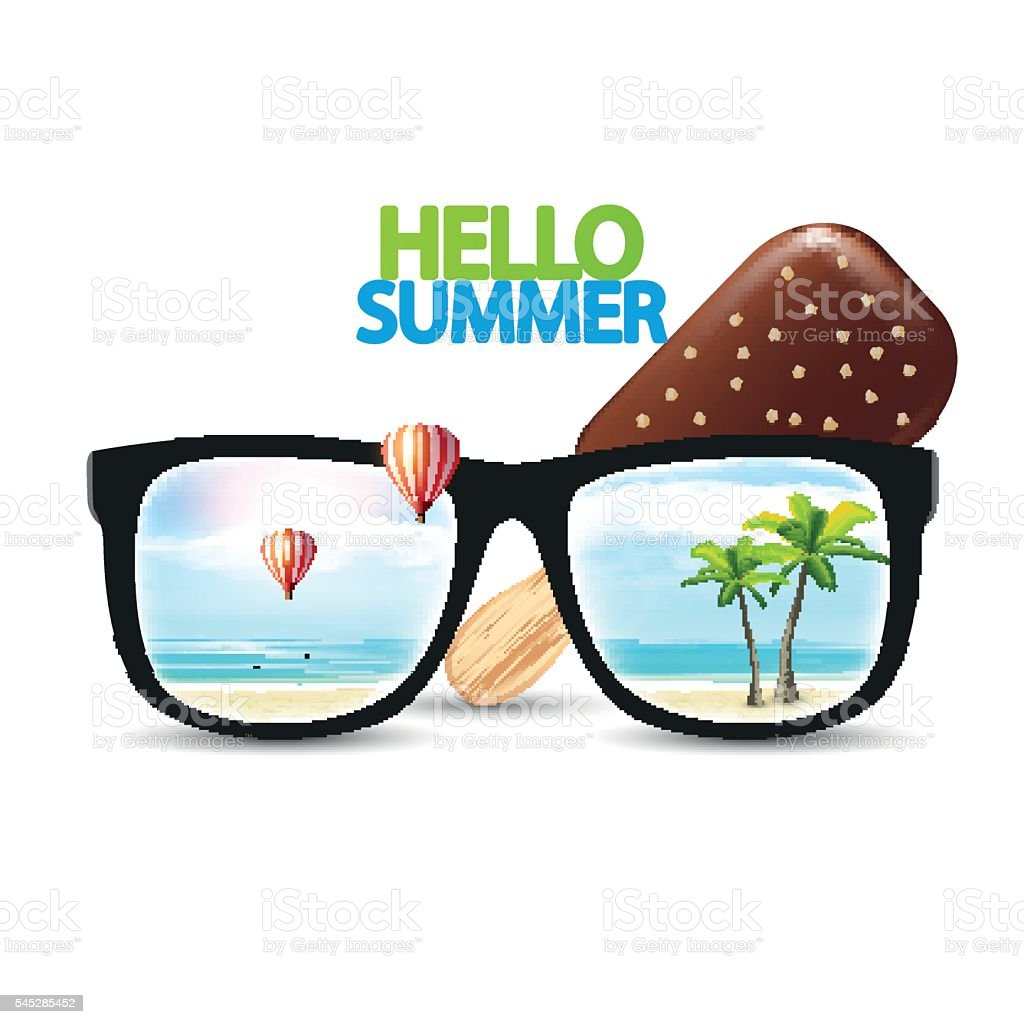 Vector Summer Beach Reflected On Sunglasses And Ice Cream