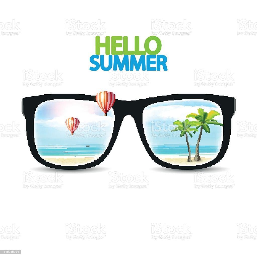 Vector Summer Beach Reflected On Sunglasses Stock ...