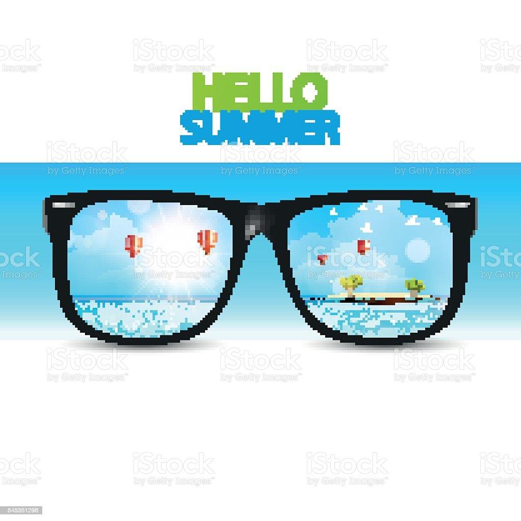 Vector Summer Beach Reflected On Sunglasses Stock Vector
