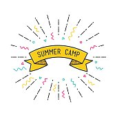Vector summer camp poster in flat design