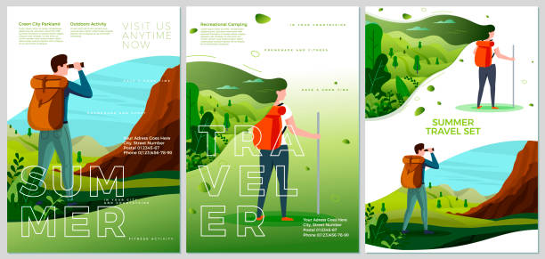 Vector summer camp travel posters set - man, woman Vector summer camp travel posters set - man and woman outdoors. Forests, trees and hills on background. Print template with place for your text. hiking stock illustrations