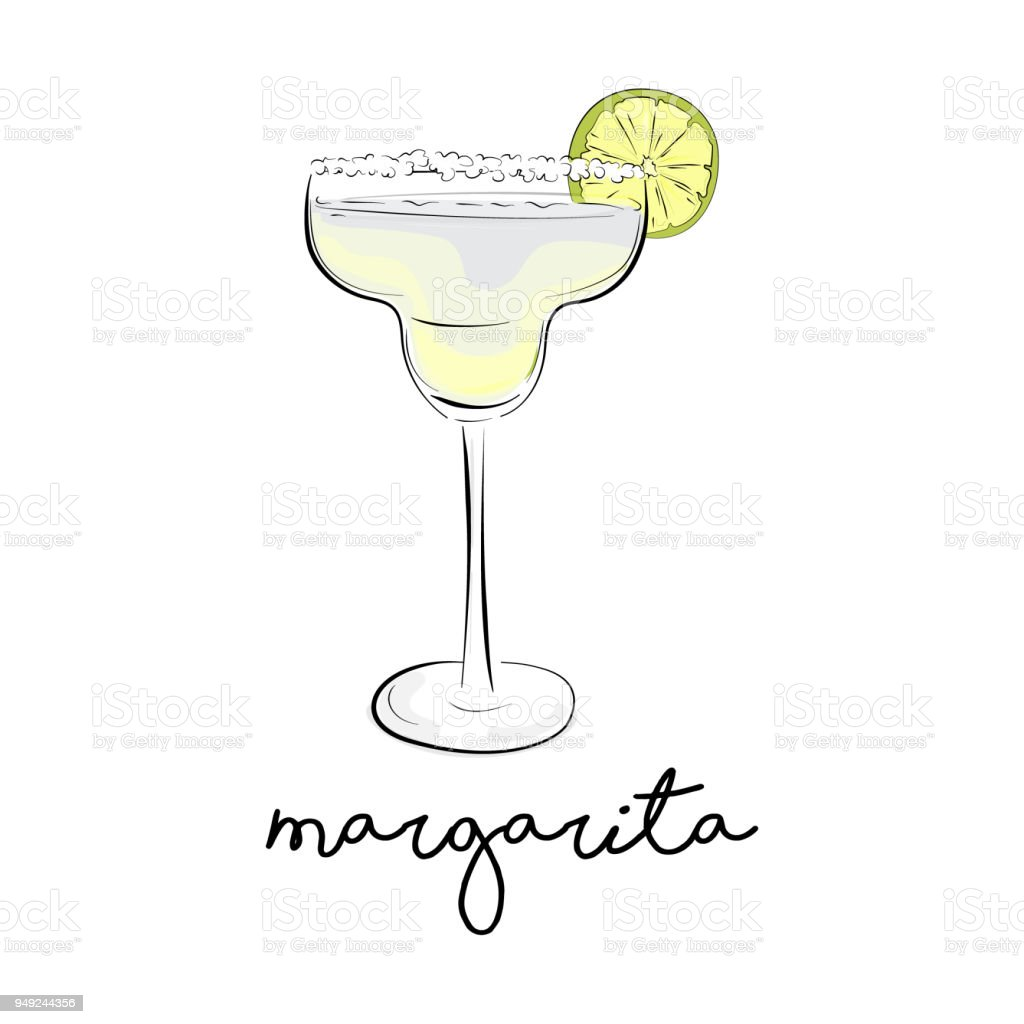 Vektorsommercocktail Margarita Alkohol Trinken Kosmopolitische ...