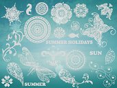 Vector Summer Design elements on Background with blue sky and sea, example with Chaparral Pro Bold and Cooper Std fonts, blobs with transparency effects