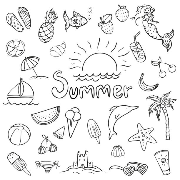 Vector Summer Doodles vector art illustration