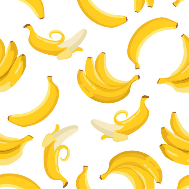 Vector summer exotic pattern with yellow bananas. Seamless texture design. Vector summer exotic pattern with yellow bananas. Seamless texture design. banana stock illustrations