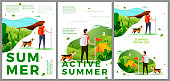 Vector summer hiking travel posters set - man and woman outdoors. Forests, trees and hills on background. Print template with place for your text.