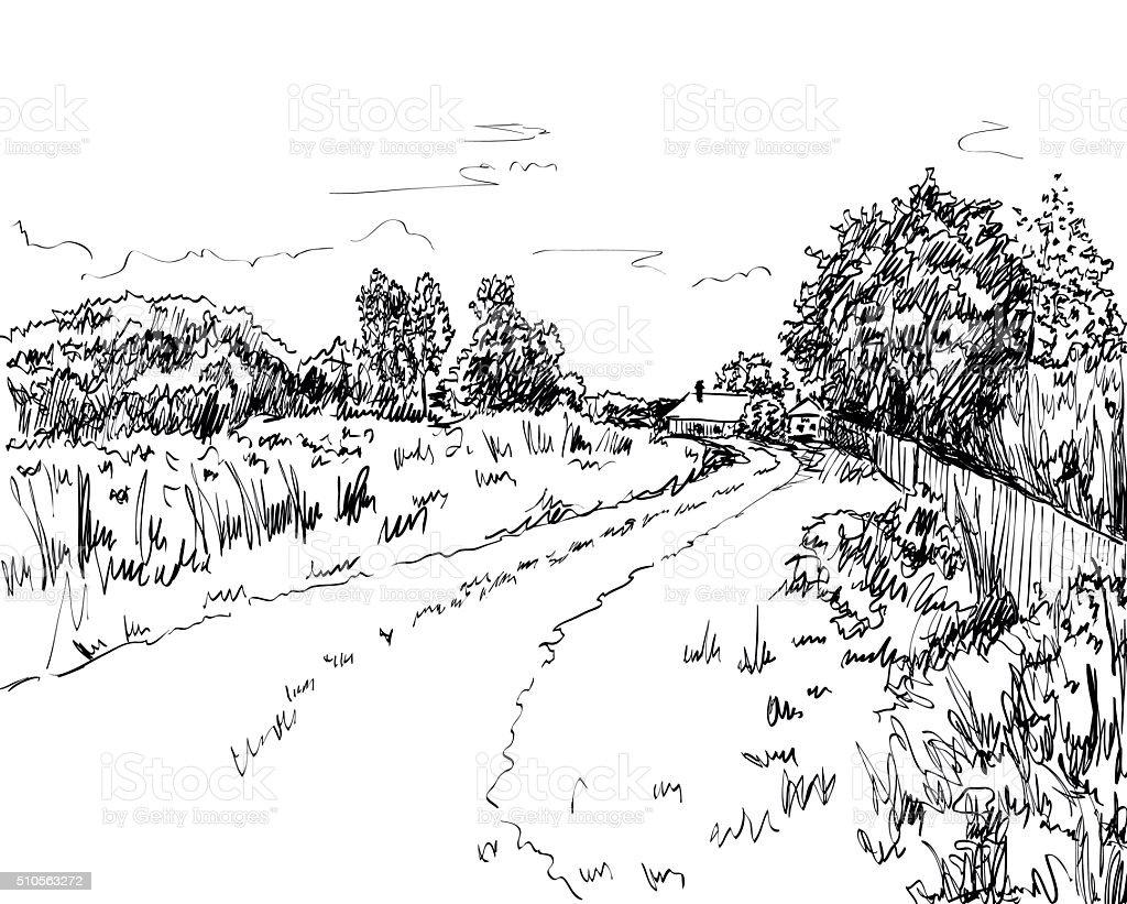 vector  summer landscape vector art illustration