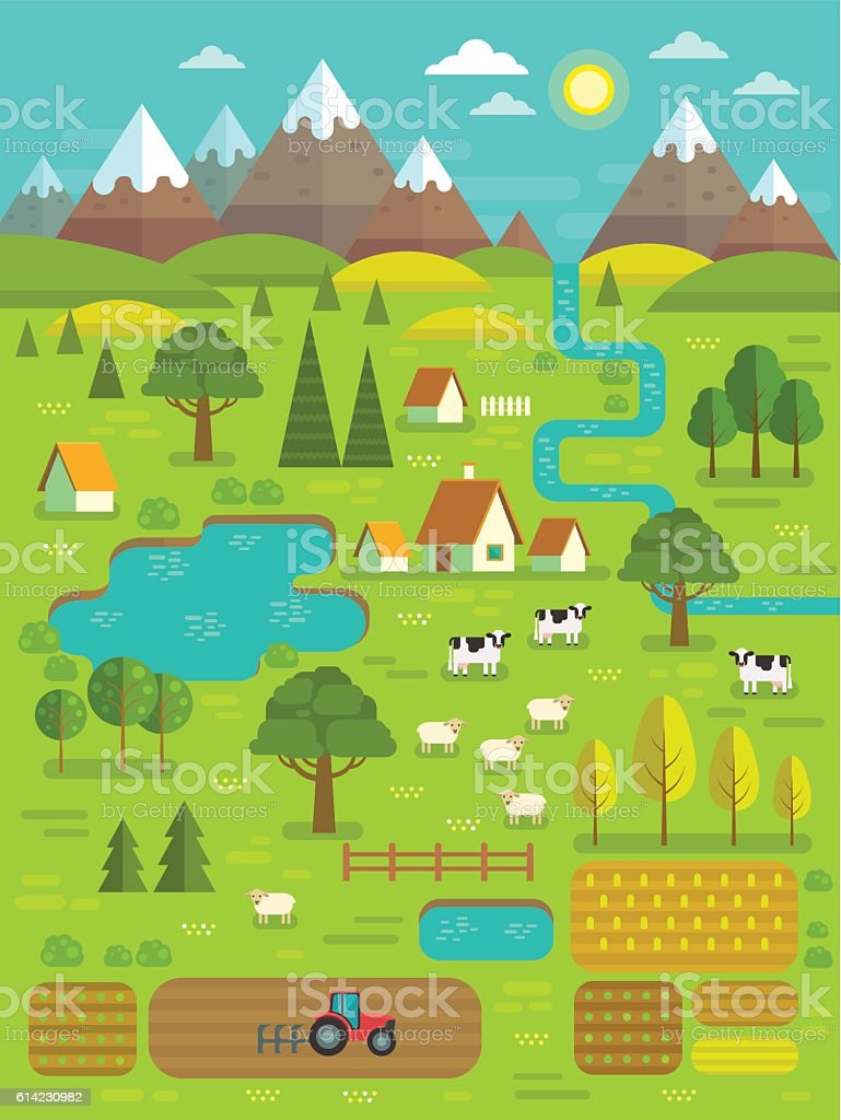 Vector summer landscape. vector art illustration