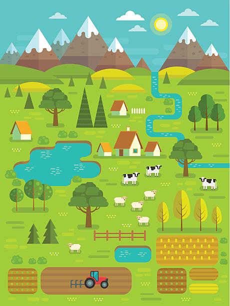 vector summer landscape. - cartoon landscapes stock illustrations, clip art, cartoons, & icons