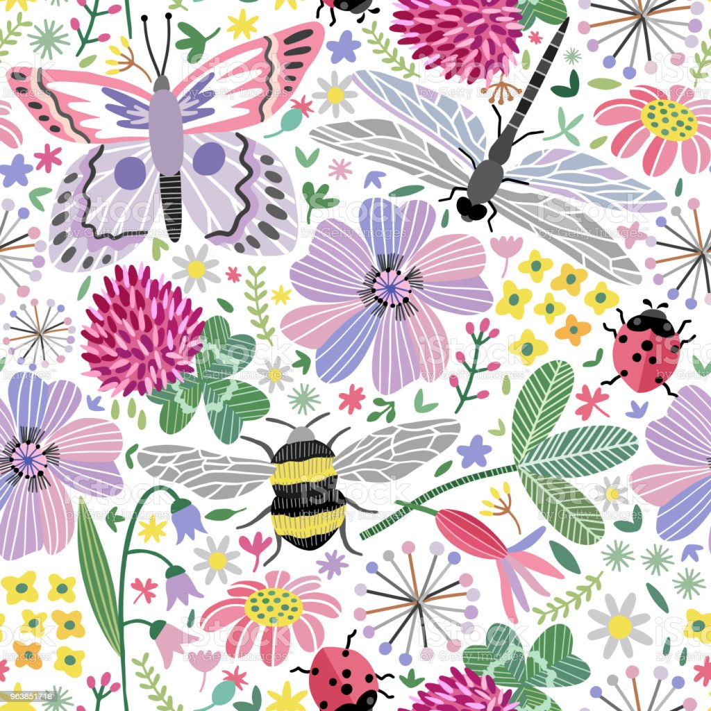Vector summer meadow seamless pattern. Flowers, butterfly, dragonfly - Royalty-free Animal Wildlife stock vector