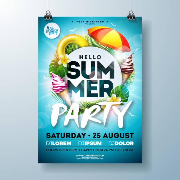 vector summer party flyer design with typography letter, sunshade and ice cream on ocean blue background. summer vacation holiday illustration template for banner, flyer, invitation or celebration poster. - summer background stock illustrations