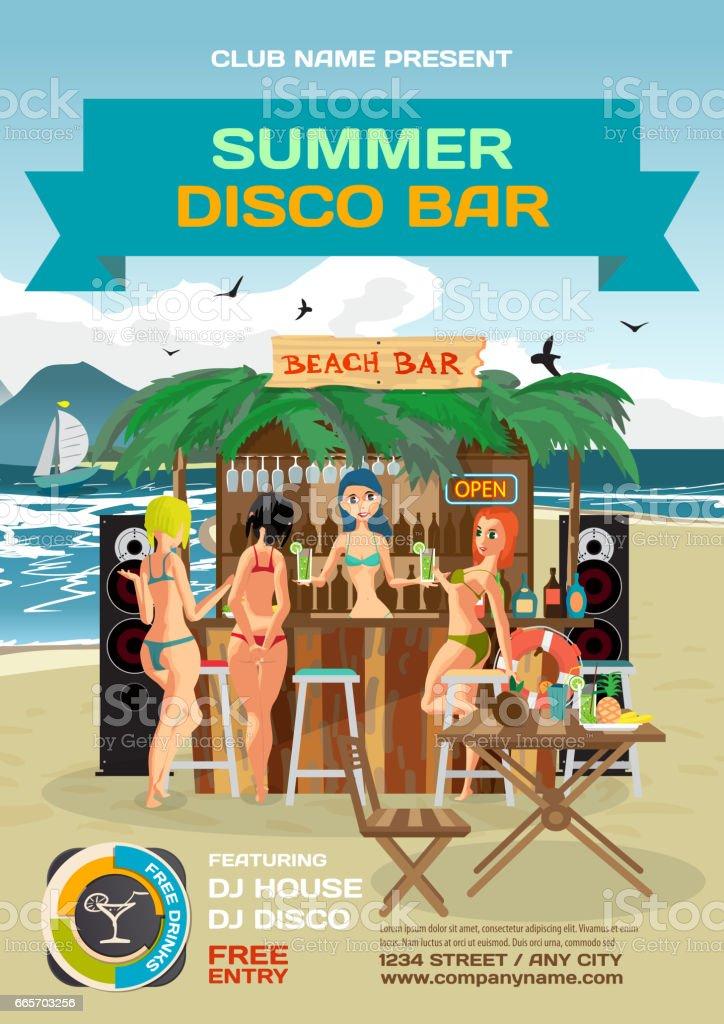 Vector summer party invitation beach disco style. vector art illustration