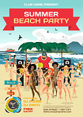 Vector summer party invitation beach style. Day beach, dj with sound system, crowd women in bikinis. Posters, invitations or flyers. Vector template beach summer party poster.