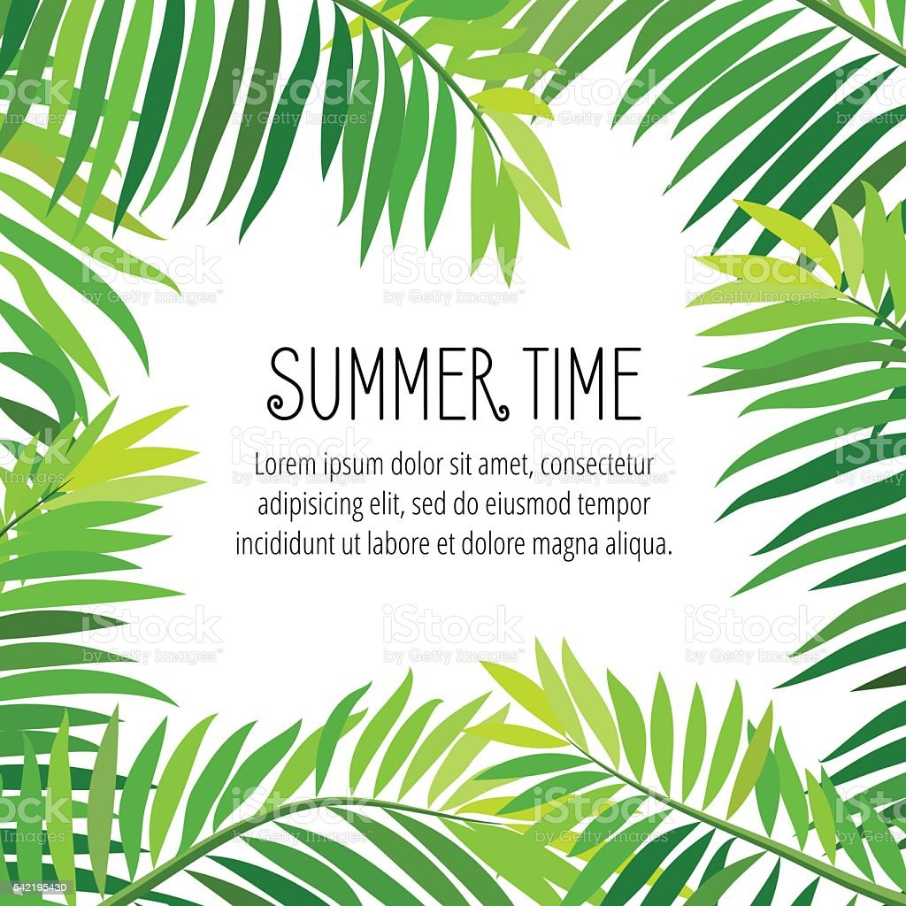 Vector summer party poster with palm leaf vector art illustration