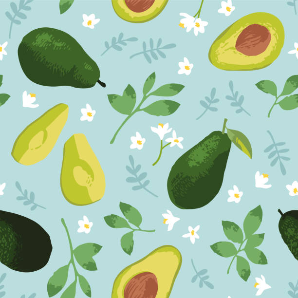 Vector summer pattern with avocado, flowers and leaves. Seamless texture design. Vector summer pattern with avocado, flowers and leaves. Seamless texture design. avocado patterns stock illustrations