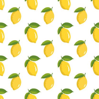 Vector summer pattern with lemons. Seamless texture design.