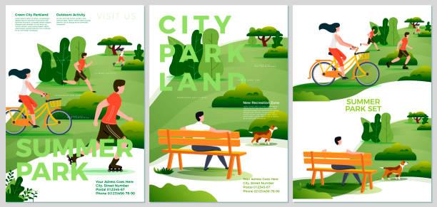 stockillustraties, clipart, cartoons en iconen met vector zomer posters set-natuurpark - beschermd natuurgebied