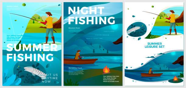 ilustraciones, imágenes clip art, dibujos animados e iconos de stock de carteles vectoriales de verano establecen actividades de pesca fluvial - tipos de letra de historietas