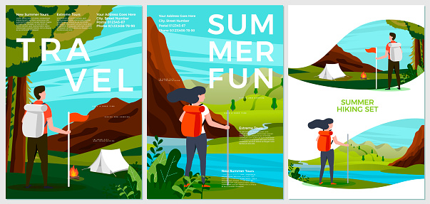 Vector summer posters set - tourist people