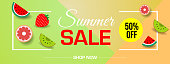 Vector summer sale banner with pieces of ripe fruit on colorful triangle