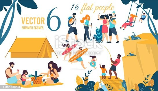 istock Vector Summer Scenes and Flat People Characters 1182995291
