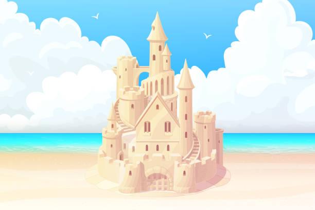 illustrations, cliparts, dessins animés et icônes de vecteur d'été mer plage sandcastle bannière - chateau de sable