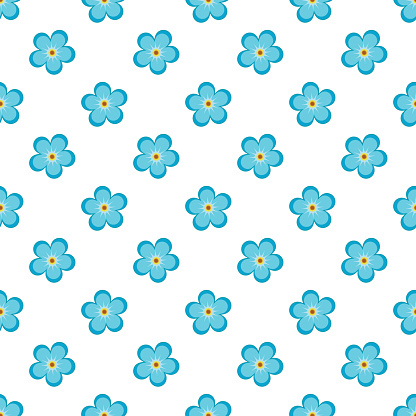 vector summer seamles pattern with blue flowers-01