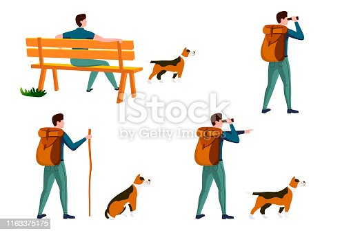 Vector summer travel activities set - man on a bench with dog, with backpack travel and walking. Isolated on white background.