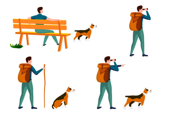 Vector summer travel activities set - man with dog Vector summer travel activities set - man on a bench with dog, with backpack travel and walking. Isolated on white background. hiking stock illustrations
