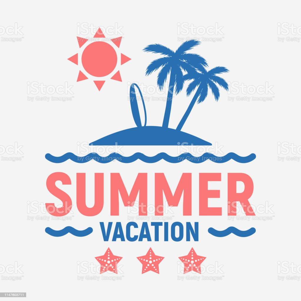 Vector Summer Vacation Logo Tropical Island With Palm Trees Isolated