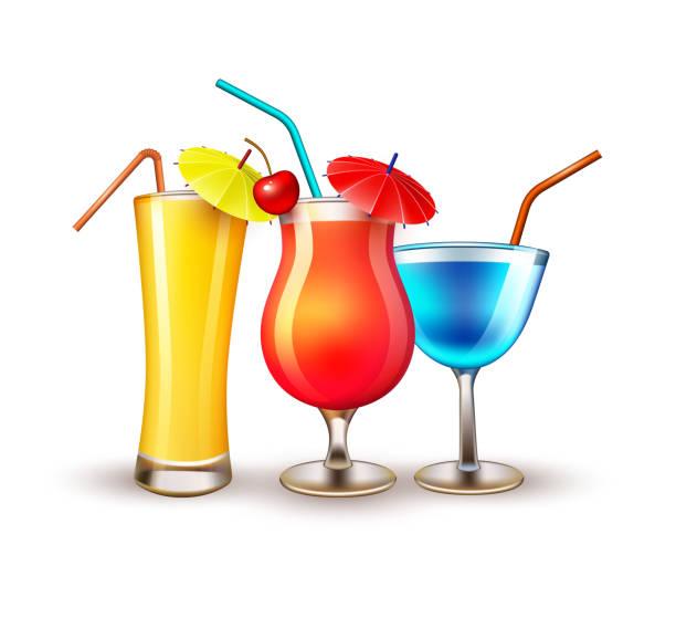 bildbanksillustrationer, clip art samt tecknat material och ikoner med vector sommaren semester realistiska cocktailglas - vin sommar fest