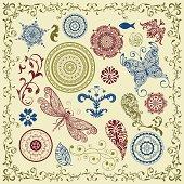 vector summer   vintage floral bright  design elements