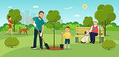 Vector summertime flat illustration. People in the park. Father and the son plant trees