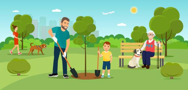 im sommer flache vektorgrafik. menschen im park. vater und sohn bäume pflanzen - arbeitshunde stock-grafiken, -clipart, -cartoons und -symbole