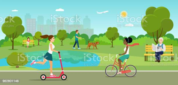 Vector summertime flat illustration people in the park vector id952801146?b=1&k=6&m=952801146&s=612x612&h=fdy6suo1h1odxwnfaeauycpniwbyn3mt3sbghnokcho=
