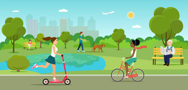 vector summertime flat illustration. people in the park. - old man on bike stock illustrations, clip art, cartoons, & icons