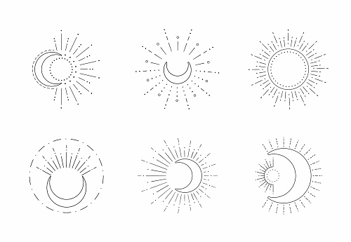 Vector sun and moon line design. Outline suns symbols, moon element icon set isolated on white background.