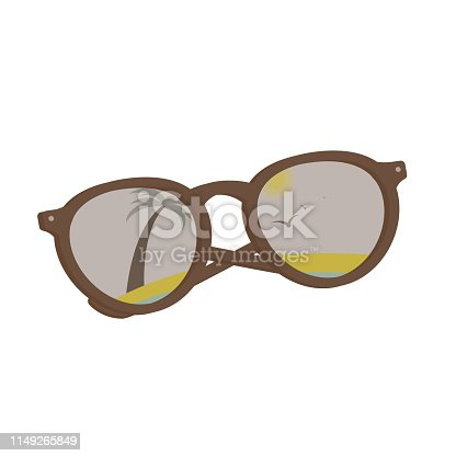 vector brown sun glasses with tropical beach reflection, palms, sand, sea, sun and birds