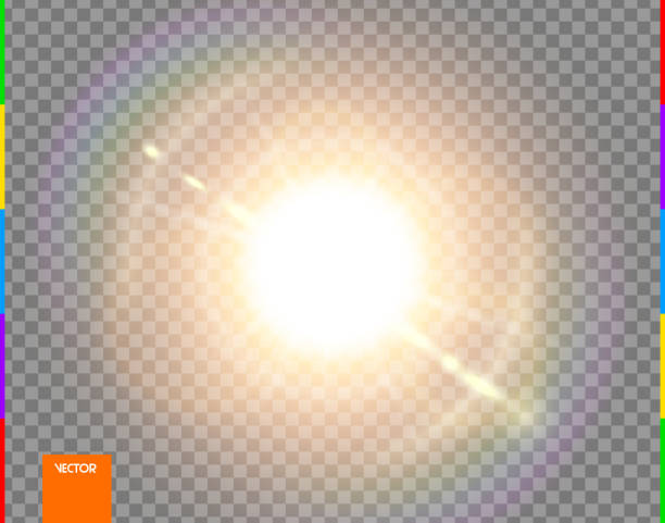 vector sun. glow transparent sunlight special lens flare light effect. isolated flash rays and spotlight. golden front translucent background. blur abstract decor element. star burst with spark - flara obiektywu stock illustrations