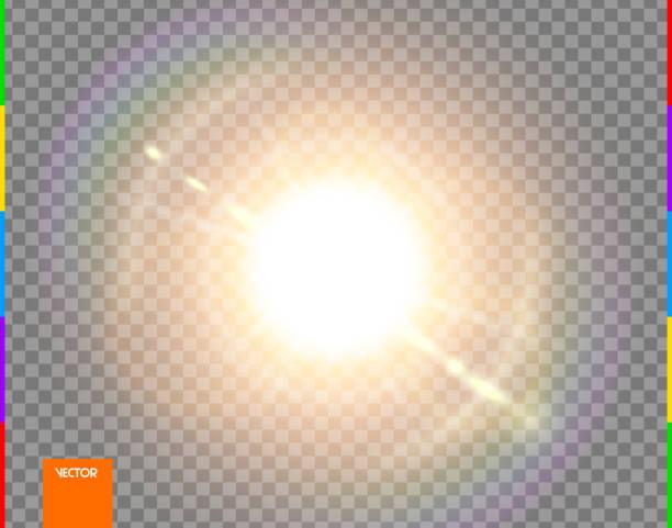 ベクトル太陽。グロー透明日光特殊レンズフレア光効果。孤立したフラッシュレイとスポットライト。金色のフロント半透明の背景。ぼかし抽象的な装飾要素。スパークとスターバースト - 輝いている点のイラスト素材/クリップアート素材/マンガ素材/アイコン素材