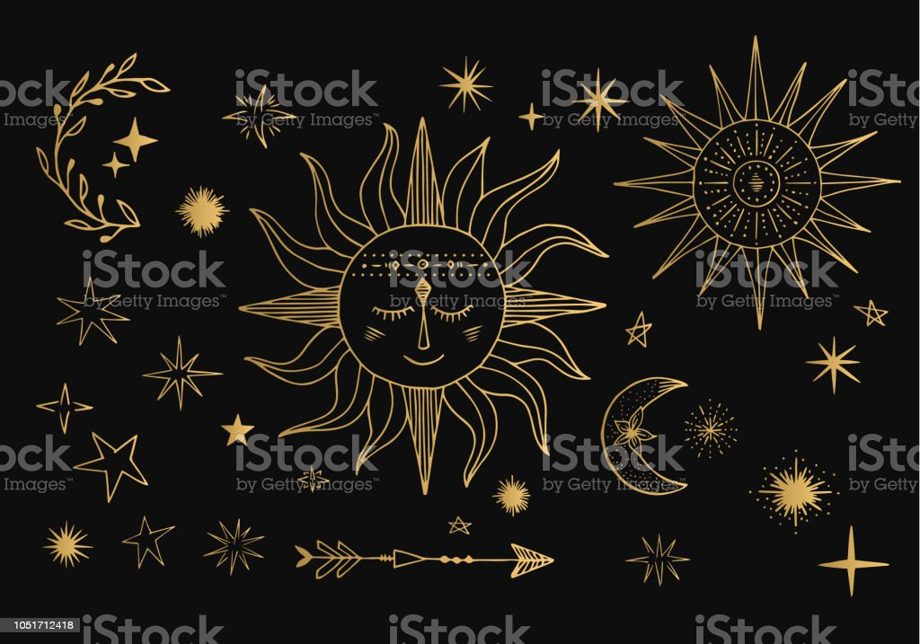 Vector, sol, lua, cometa, signo do Zodíaco. Ilustração do céu dourado. Projeto do Tattoo. - ilustração de arte em vetor
